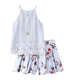 Beautees Girls' 7-16 Lace Halter Top with Floral Print Shorts Set