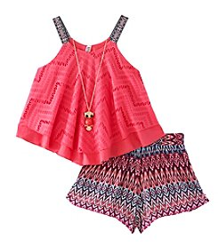 Beautees Girls' 7-16 Crochet Flounce Top with Printed Short Set