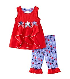 Nannette® Girls' 2T-6X Cascade Star Top With Star Printed Leggings Set