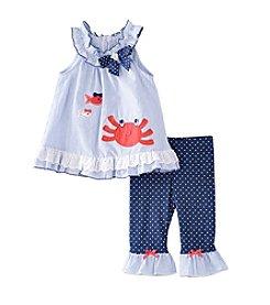 Nannette® Girls' 2T-6X Crab Seersucker Top With Dot Printed Leggings