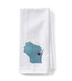 Home Sewn Wisconsin Heart Green Bay Kitchen Towel