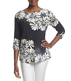 Alfred Dunner® Petites' Daisy Yoke Tunic Top