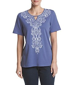 Alfred Dunner® Petites' Seahorse And Shell Embroidery Top