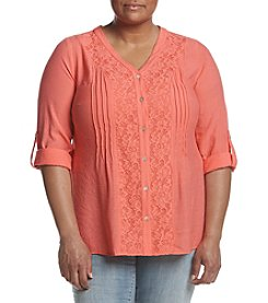 Studio Works® Plus Size Roll Sleeve V-Neck Blouse