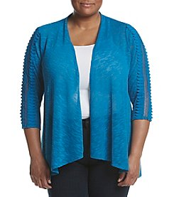 Studio Works® Plus Size Crochet Trim Cardigan