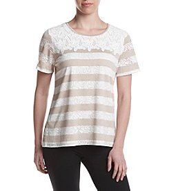 Alfred Dunner® Burnout Lace Yoke Knit Top