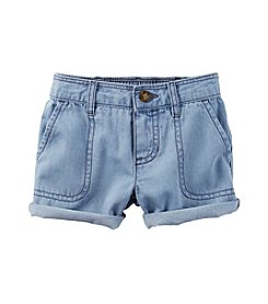 Carter's® Baby Girls' Chambrey Roll Shorts
