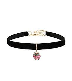 Betsey Johnson® Pave Owl Charm Choker Necklace