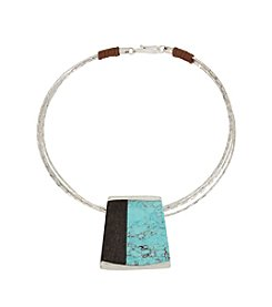 Robert Lee Morris Soho™ Semiprecious Turquoise Stone Geometric Wire Collar Necklace