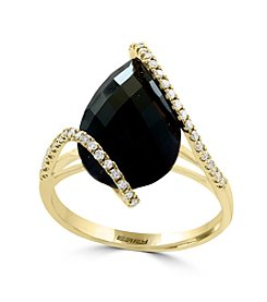 Effy® 14K Yellow Gold 0.19 ct.t.w. Diamond And Onyx Ring