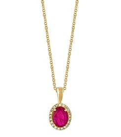 Effy® 14K Yellow Gold Diamond And Natural Ruby Pendant