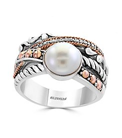 Effy® Sterling Silver And 18K Rose Gold Diamond And Cultured Fresh Water Pearl Ring