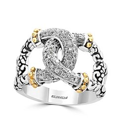 Effy® Sterling Silver And 18K Yellow Gold .20 ct. t.w. Diamond Ring