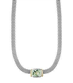 Effy® Sterling Silver And 18K Yellow Gold Green Amethyst Necklace