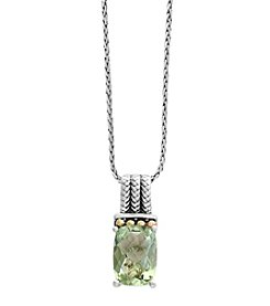 Effy® Sterling Silver And 18K Yellow Gold Green Amethyst Pendant