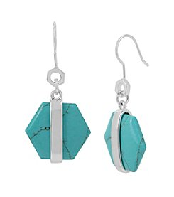 Kenneth Cole® Geometric Semiprecious Turquoise Stone Drop Earrings