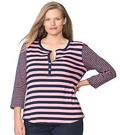 Chaps® Plus Size Striped Cotton Henley