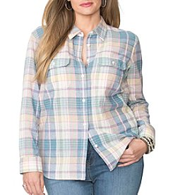 Chaps® Plus Size Plaid Linen-Cotton Workshirt