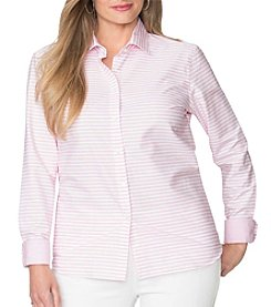 Chaps® Plus Size Non-Iron Striped Broadcloth Shirt