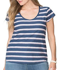 Chaps® Plus Size Striped V-Neck Tee