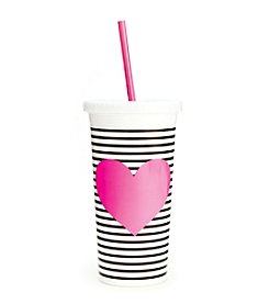 ban.do® Sip Sip Tumbler With Straw, Neon Heart With Stripes
