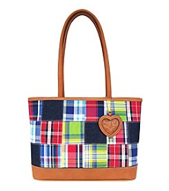 GAL Patched Motifs Triple Entry Tote With Heart Photo Key Fob