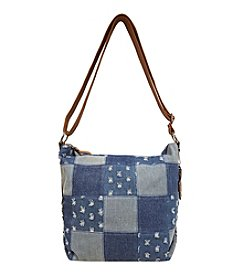 GAL Patched Motifs Hobo Crossbody With Flower Photo Key Fob