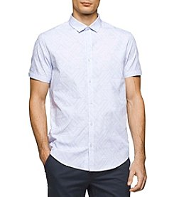 Calvin Klein Men's Short Sleeve Dobby Stripe Shirt