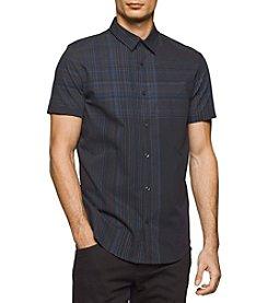 Calvin Klein Men's Short Sleeve Blown-Up Button Down Shirt