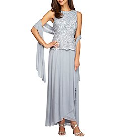Alex Evenings® Long Mock Dress with Shawl