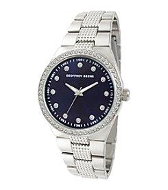 Geoffrey Beene Silvertone Navy Dial Crystal Bezel Bracelet Watch