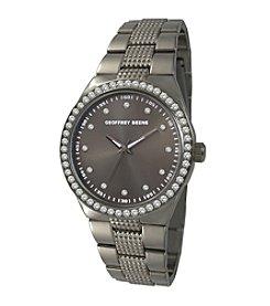 Geoffrey Beene Gunmetal Tone Crystal Bezel Bracelet Watch