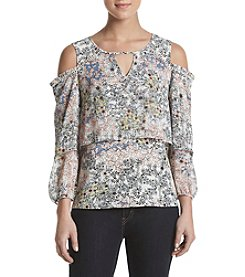 Fever™ Cold Shoulder Printed Top