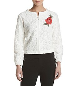Adiva Embroidered Lace Bomber Jacket