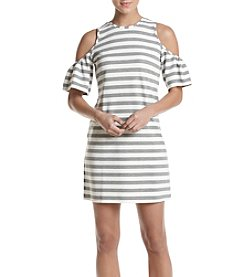 Philosophy by Republic Clothing Striped Cold Shoulder Dress