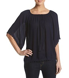 Philosophy by Republic Clothing Peasant Lace Trim Blouse