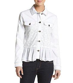 Philosophy by Republic Clothing Lace Ruffled Denim Jacket