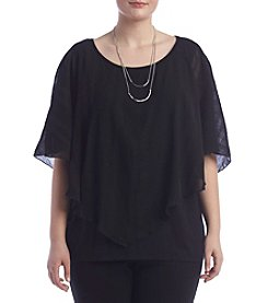 AGB® Plus Size Textured Overlay Top