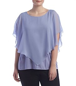 AGB® Plus Size Flutter Overlay Top