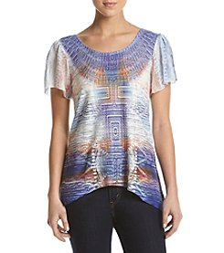 Oneworld® Printed Split Back Lace Top