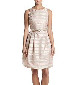 Jessica Howard® Metallic Striped Belted Dress