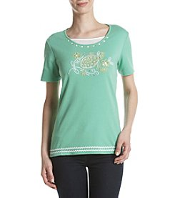 Alfred Dunner® Turtle Embroidery Tee