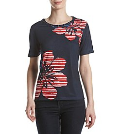 Alfred Dunner® Floral Printed Studded Tee