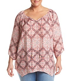 Studio Works® Plus Size Printed Peasant Top