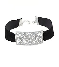 BT-Jeweled Choker Necklace With Clear Crystal Rhinestone Placket
