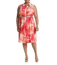 Calvin Klein Plus Size Tie-Dye Pleated Dress