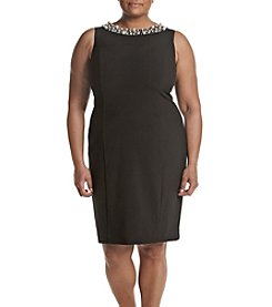 Calvin Klein Plus Size Beaded Neck Dress