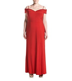 Morgan & Co.® Plus Size Off-Shoulder Long Dress