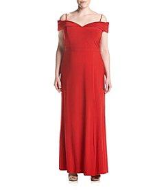Morgan & Co.® Plus Size Off-Shoulder Long Dress