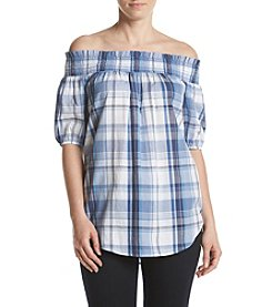 Ivanka Trump® Off Shoulder Plaid Blouse
